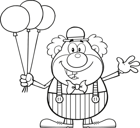 480x439 Clown With Balloons Coloring Page Free Printable Coloring Pages
