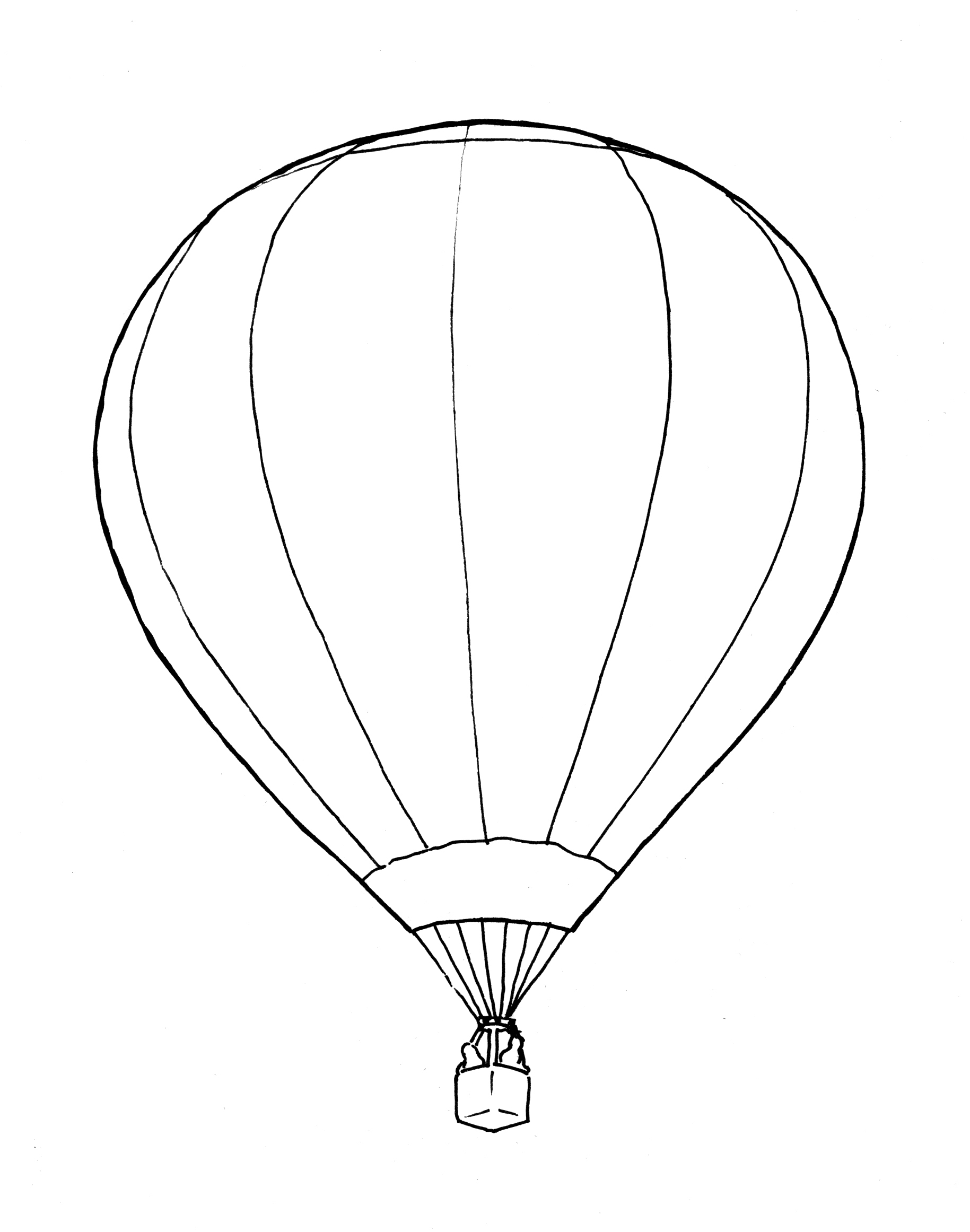 1829x2323 Cute Drawing Air Balloon Coloring Page Free Printable Pages Kids