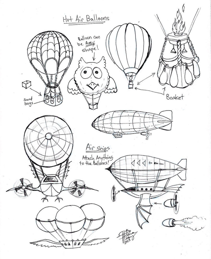 808x989 Draw Hot Air Balloons And Air Ships By Diana Huang