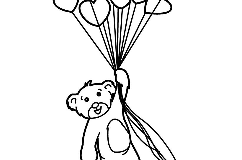 820x544 Hot Air Balloon Black And White Coloring Page Pages Of Balloons
