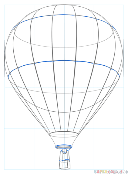 422x575 How To Draw A Hot Air Balloon Step Step Drawing Tutorials Drawings