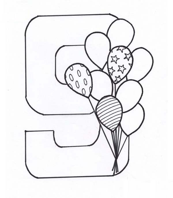 600x684 Learn Number 9 With Nine Balloons Coloring Page Bulk Color