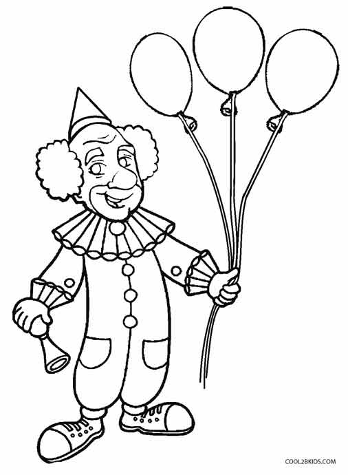 506x690 Printable Clown Coloring Pages For Kids Cool2bKids