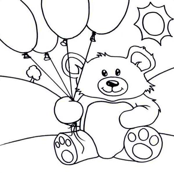 600x597 Teddy Bear And Balloons Coloring Page Color Luna