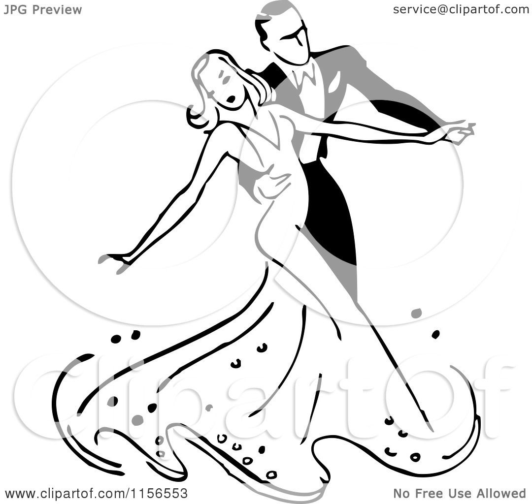 1080x1024 Clipart Of A Black And White Retro Couple Ballroom Dancing 2
