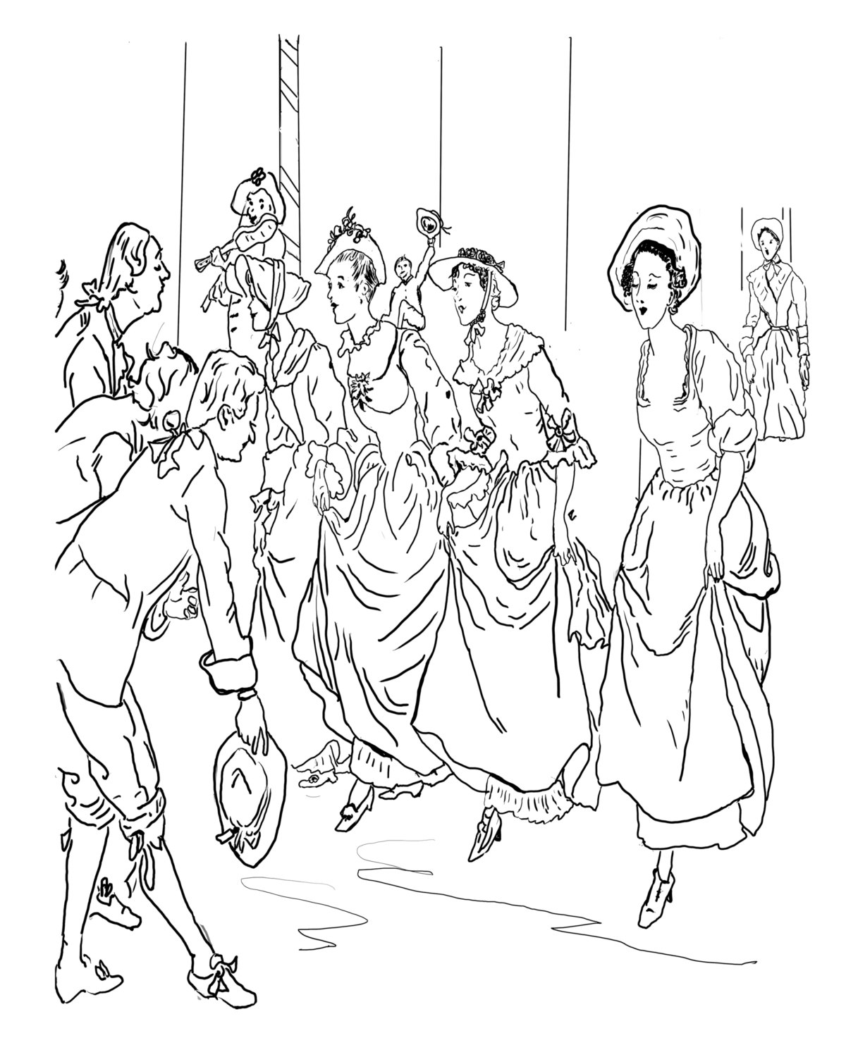 1200x1500 Ballroom Dance A Hand Drawn Vintage Coloring Page