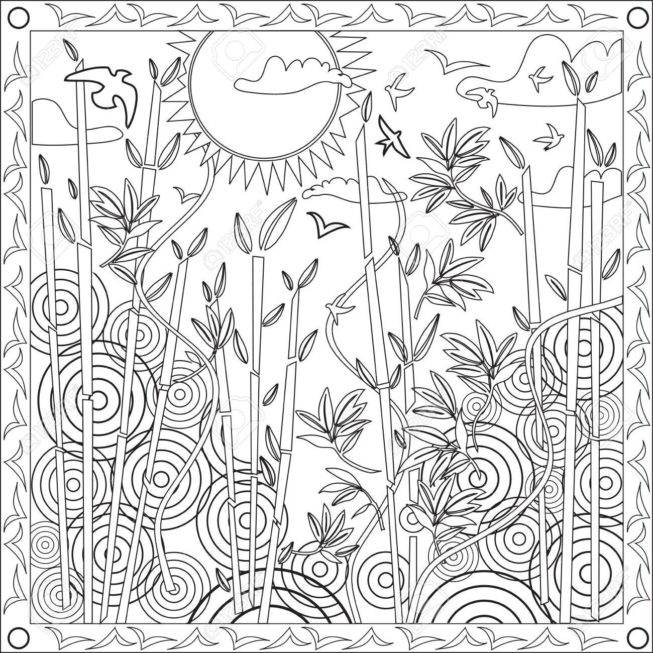 1300x1300 Page Coloring Book For Adults Square Format Japanese Bamboo Design