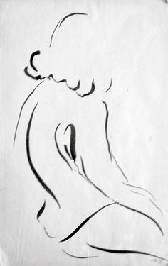 236x375 Bamboo Pen And Ink Figure Drawing By John Warren Oakes