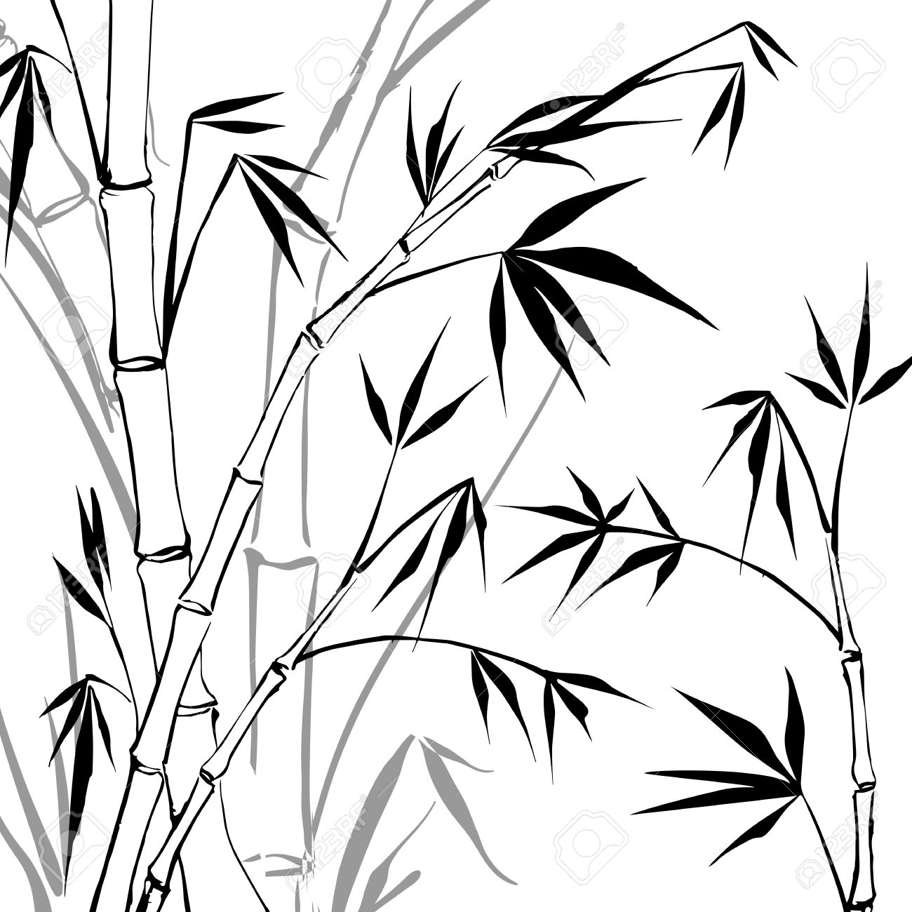 1300x1300 Bamboo Tree Clipart Black And White