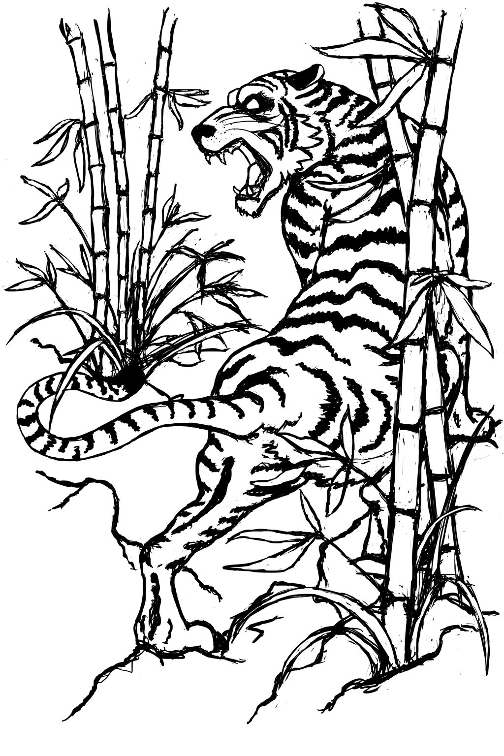 1024x1536 Black Tiger In Bamboo Trees Tattoo Stencil By Jdstone