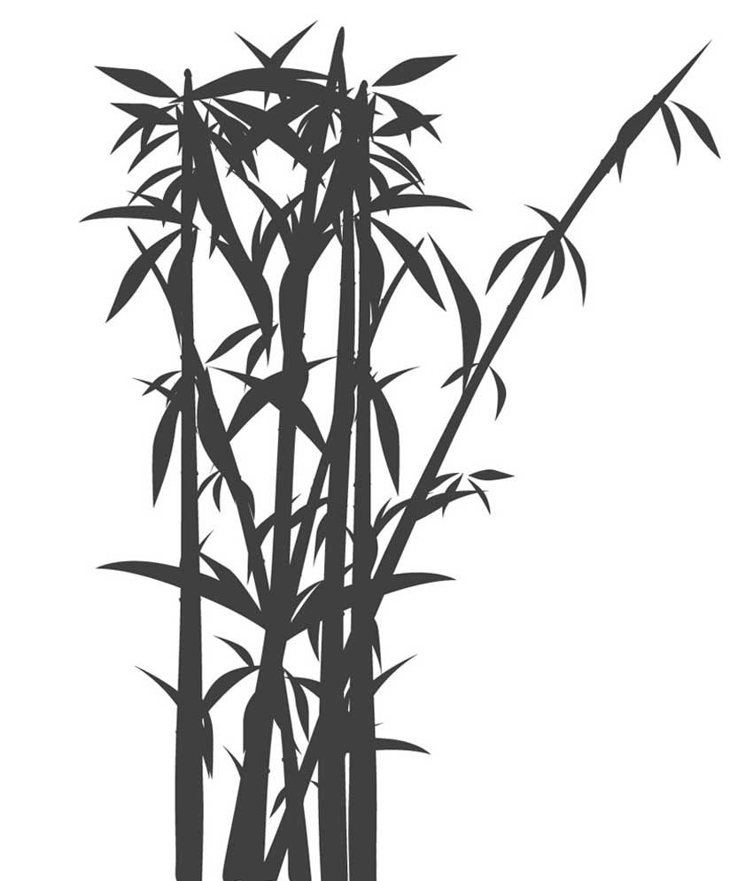 850x995 Epic Ink Black Bamboo Tree Wall Sticker