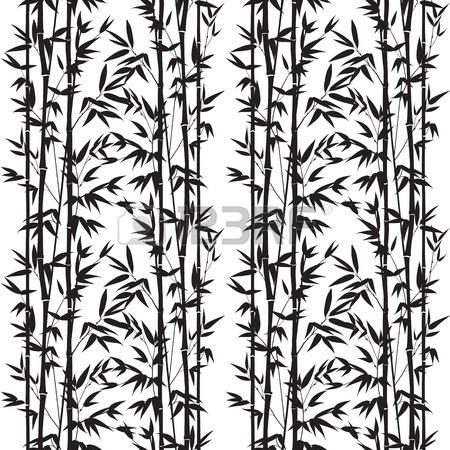 450x450 Ink Paint Bamboo Bush. Decorative Bamboo Branches. Card