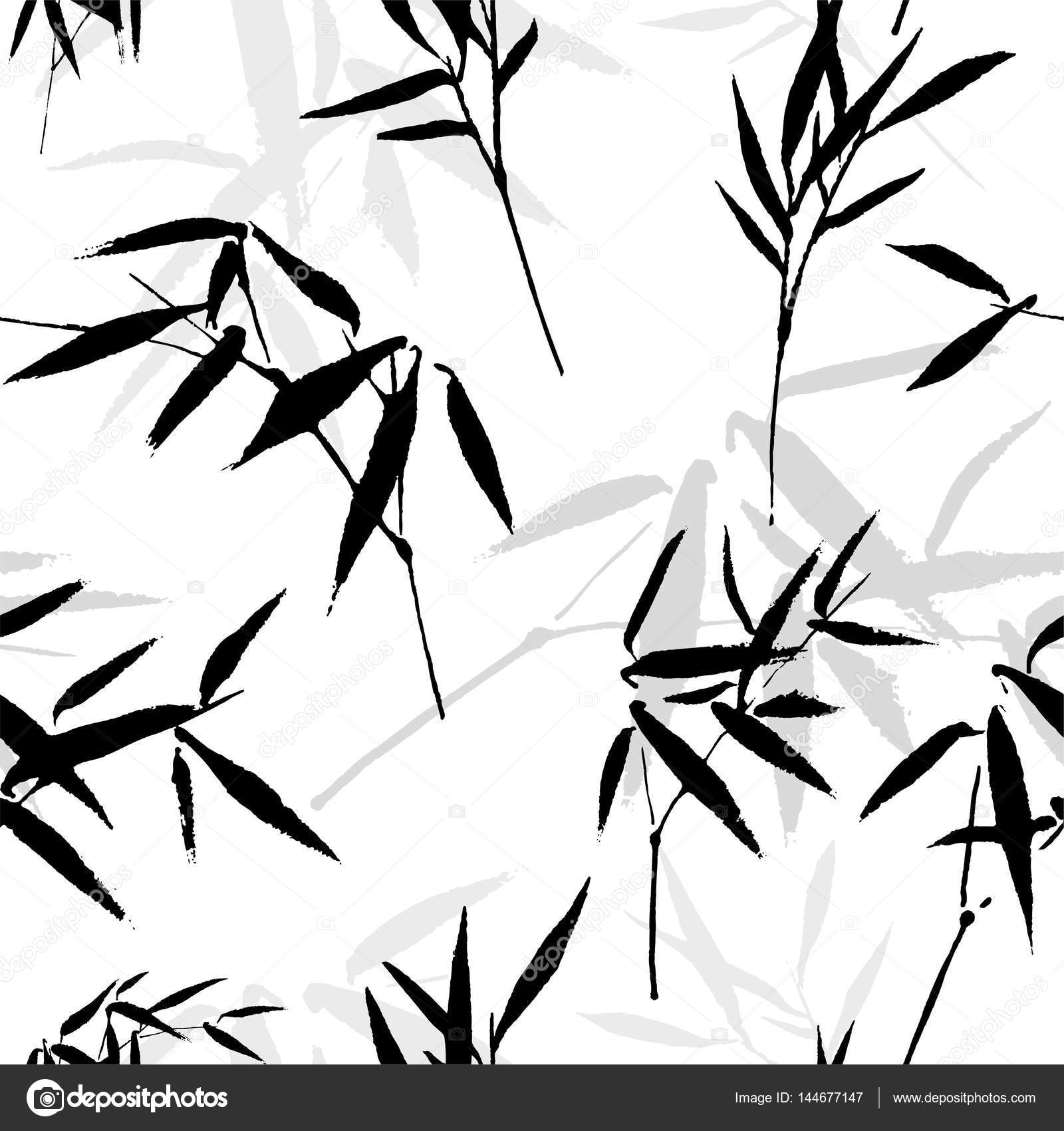 1600x1700 Ink Drawing Seamless Pattern With A Bamboo Stock Vector