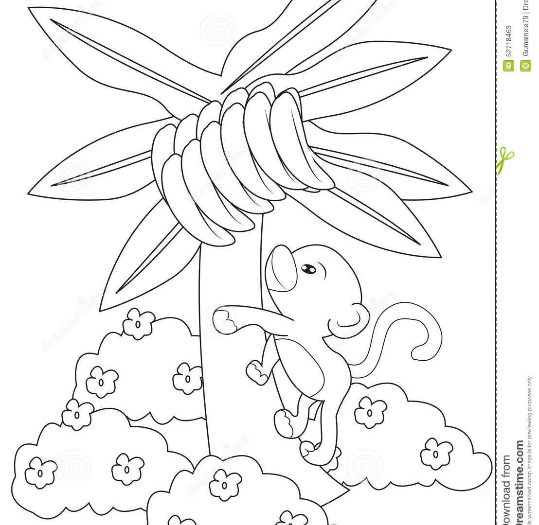1108x1080 Banana Jungle Plants Coloring Page With Beautiful Printable Tree