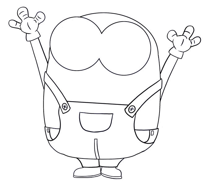 678x600 Coloring How To Draw A Minion With A Banana Step By Step As Well