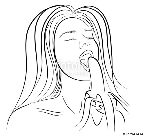 500x473 Girl Sexy Eats A Banana Sexy Lineart Hand Drawing. Vector