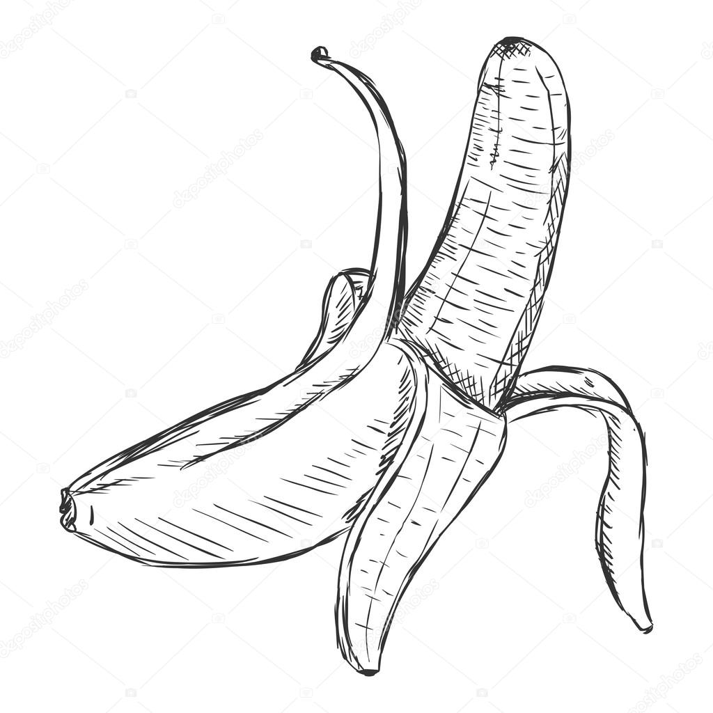 1024x1024 Peeled Banana Drawing Pictures To Pin