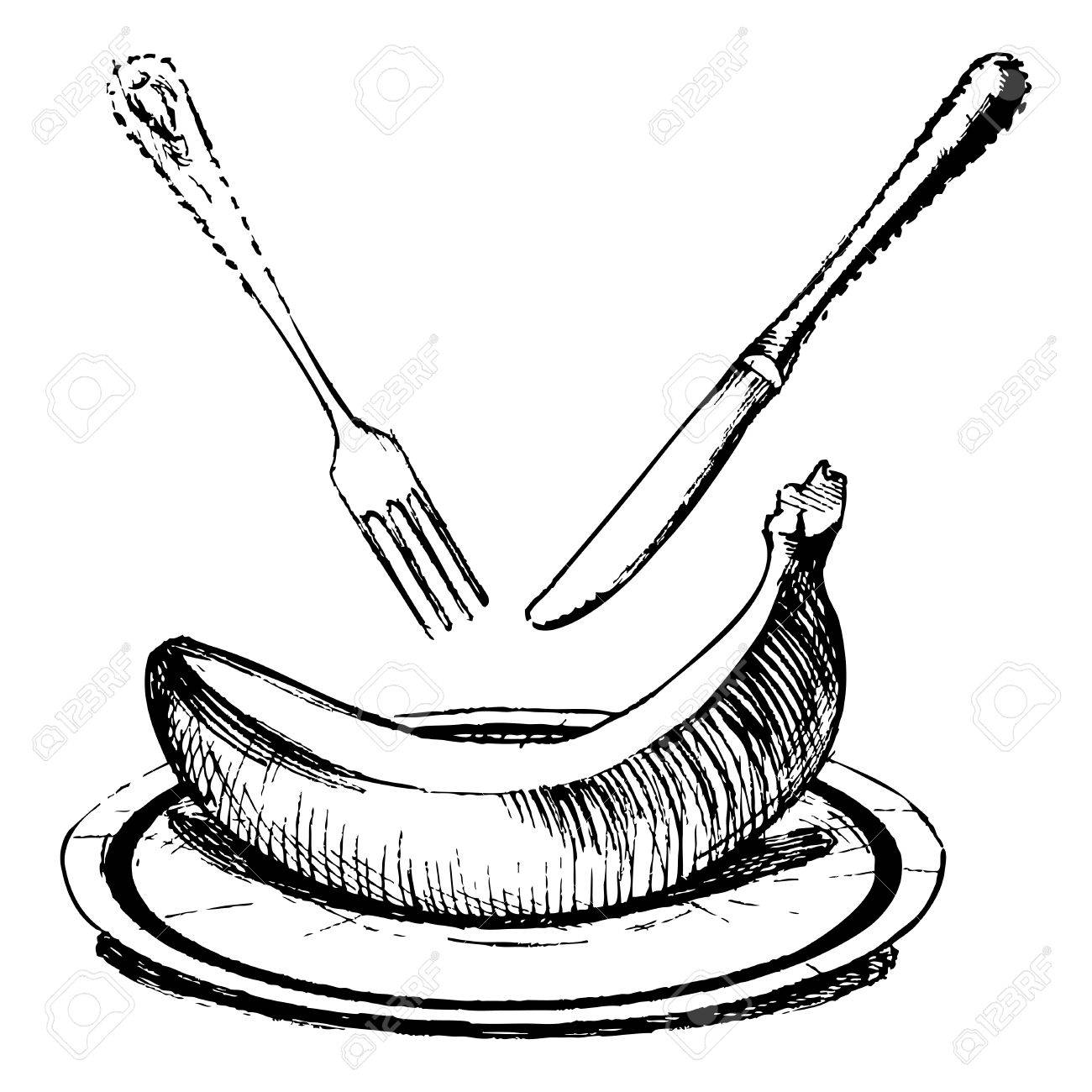 1300x1300 Vector Drawing Of Banana Stylized As Engraving Royalty Free