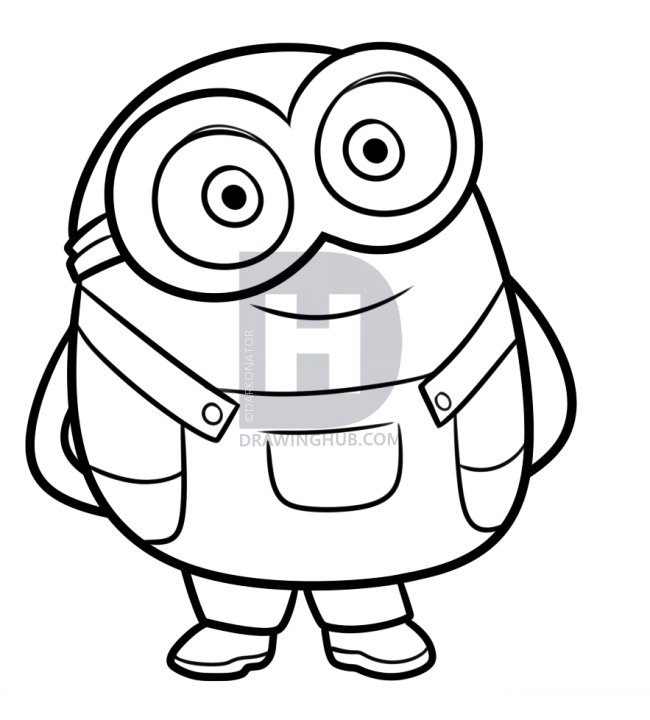 650x720 Coloring How Draw A Minion Step By Step Kevin Plus How