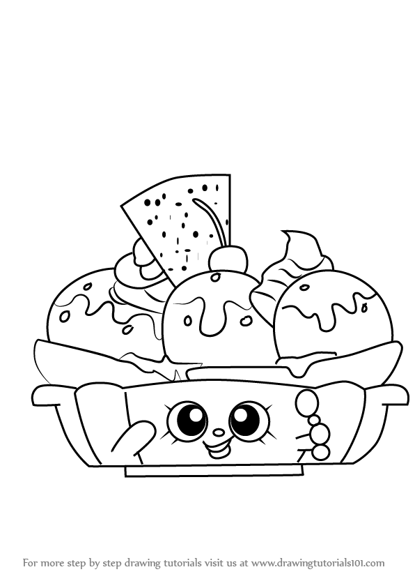 596x843 Step By Step How To Draw Banana Splitty From Shopkins