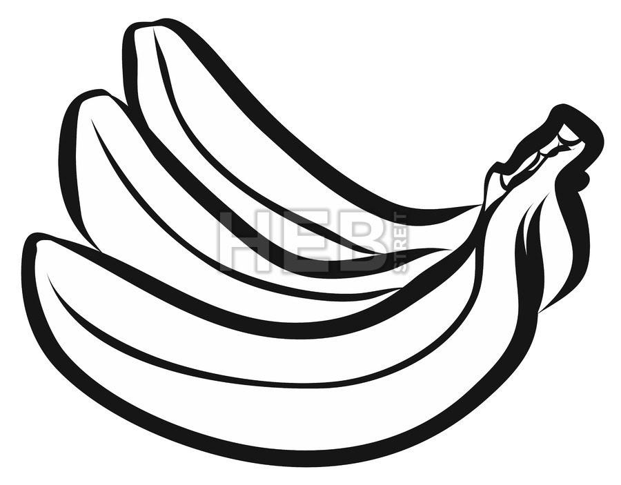 900x703 Vector Three Bananas Outline Sketch Hebstreits