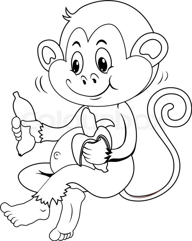 635x800 Animal Outline For Monkey Eating Banana Illustration Stock