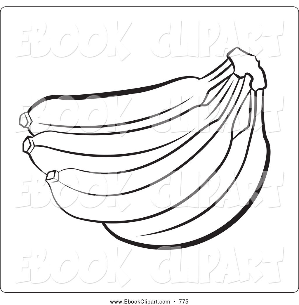 1024x1044 Vector Clip Art Of A Coloring Page Outline Banana Bunch By