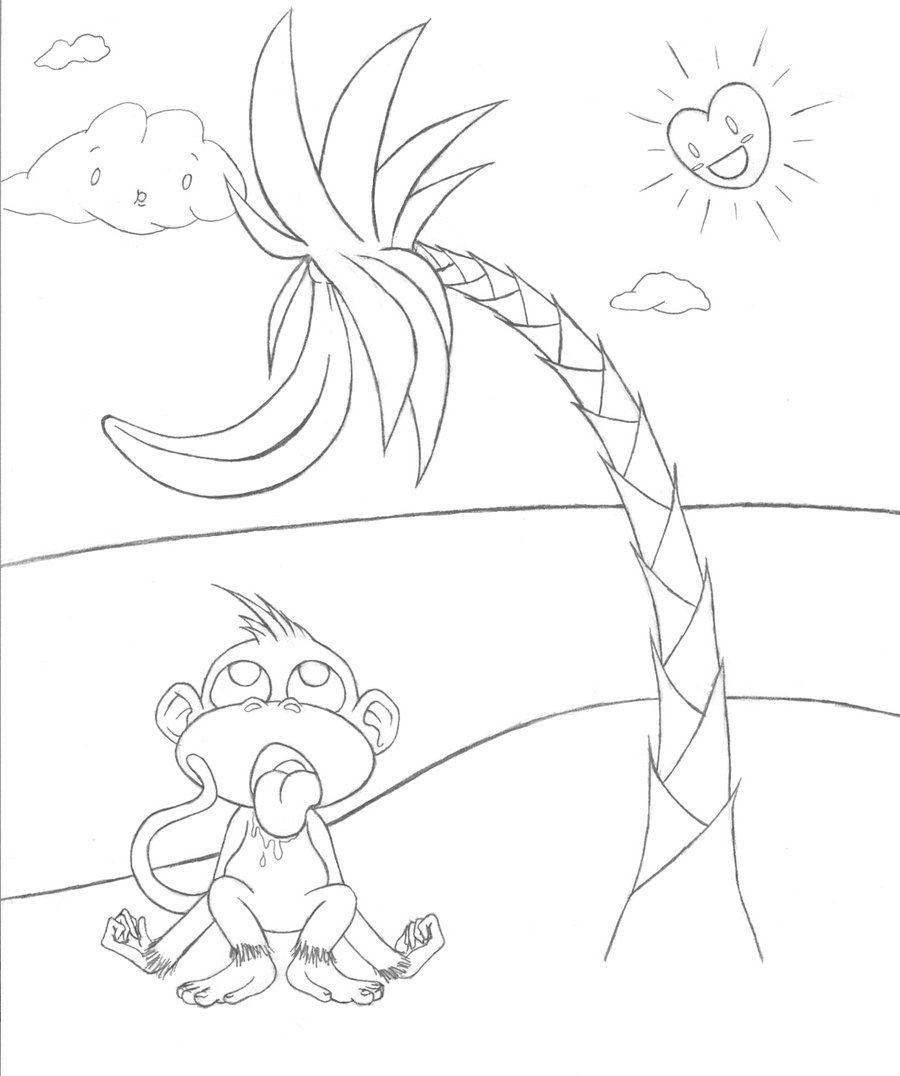 900x1076 Banana Tree Outline By Monkehranch