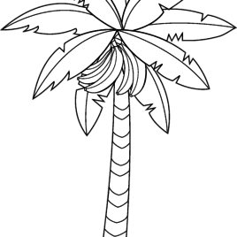 268x268 Banana Tree Clipart Black And White Collection