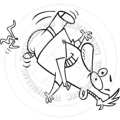 460x460 Cartoon Man Slipping On Banana Peel (Black And White Line Art) By