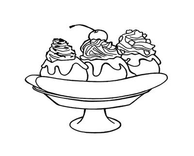 400x322 Napkin With A Banana Split Sundae Coloring Sheet For Dessert