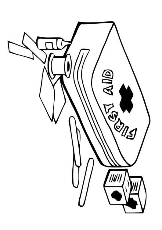 531x750 Coloring Page First Aid Kit
