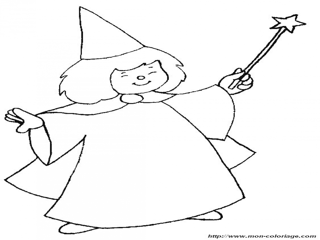 1280x960 A Fairy With Wand Coloring Page Magic