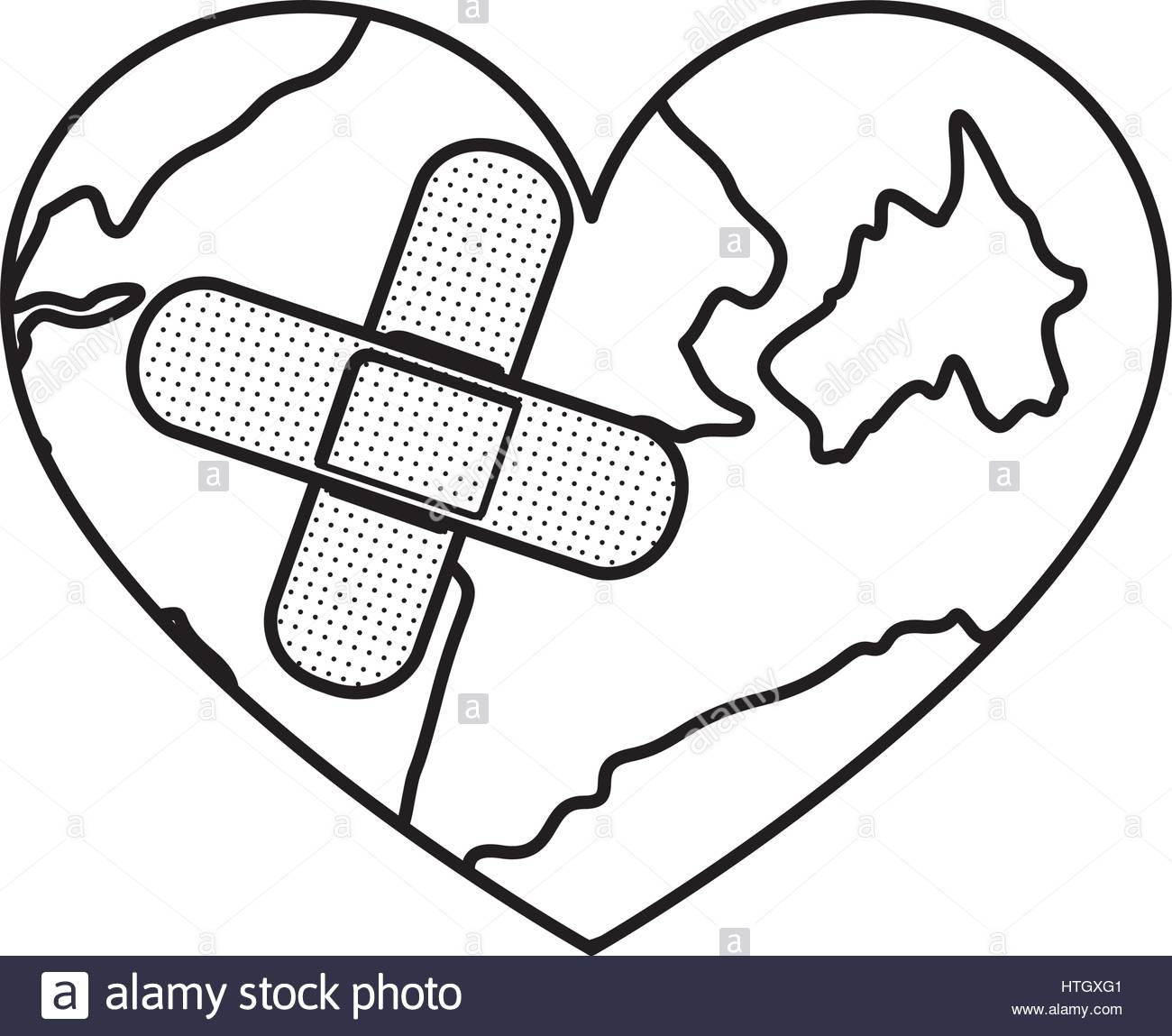 1300x1149 Figure Earth Planet Heart With Band Aid Icon Stock Vector Art