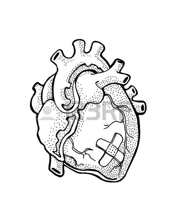360x450 Hand Drawn Vector Illustration Or Drawing Of A Heart With A Band
