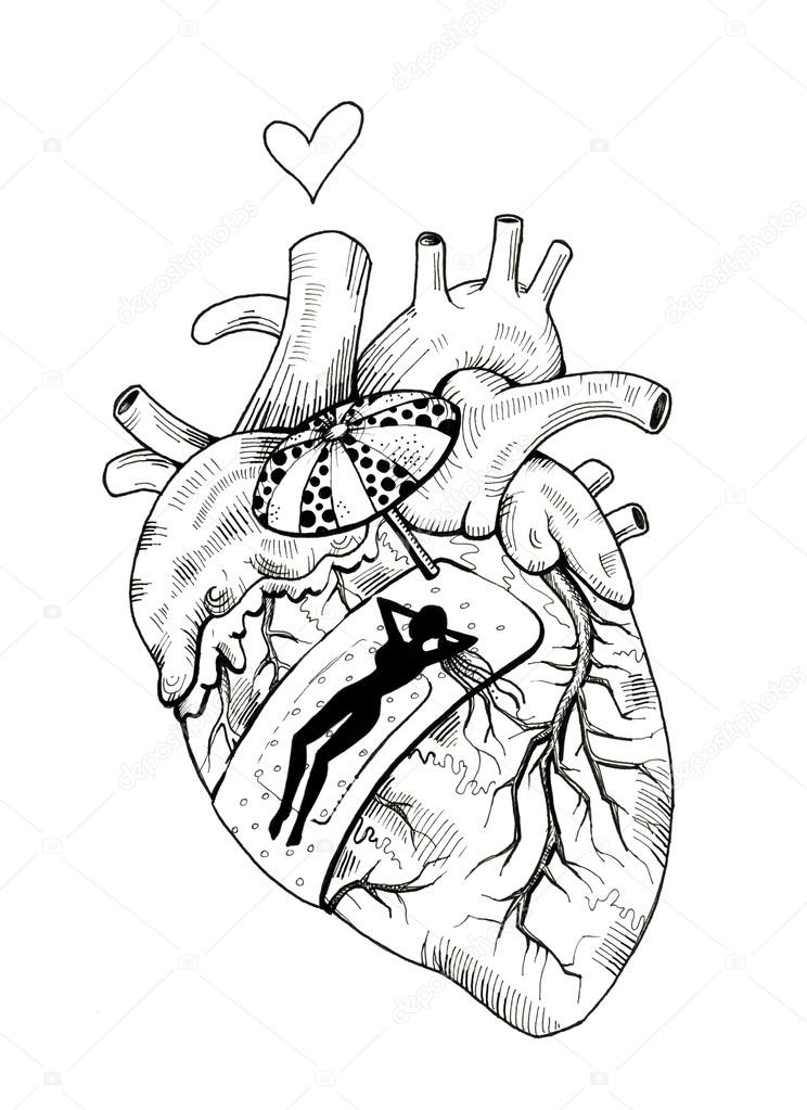 744x1023 Scar. Human Heart With Band Aid Stock Photo Ssplajn