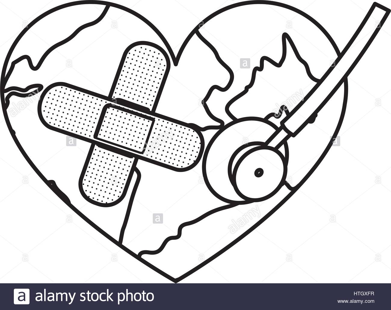 1300x1033 Figure Earth Planet Heart With Stethoscope And Band Aid Icon Stock
