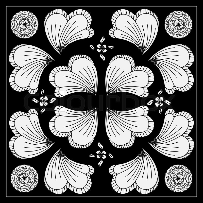 800x800 Black And White Abstract Bandana Print With Fantasy Flower. Square