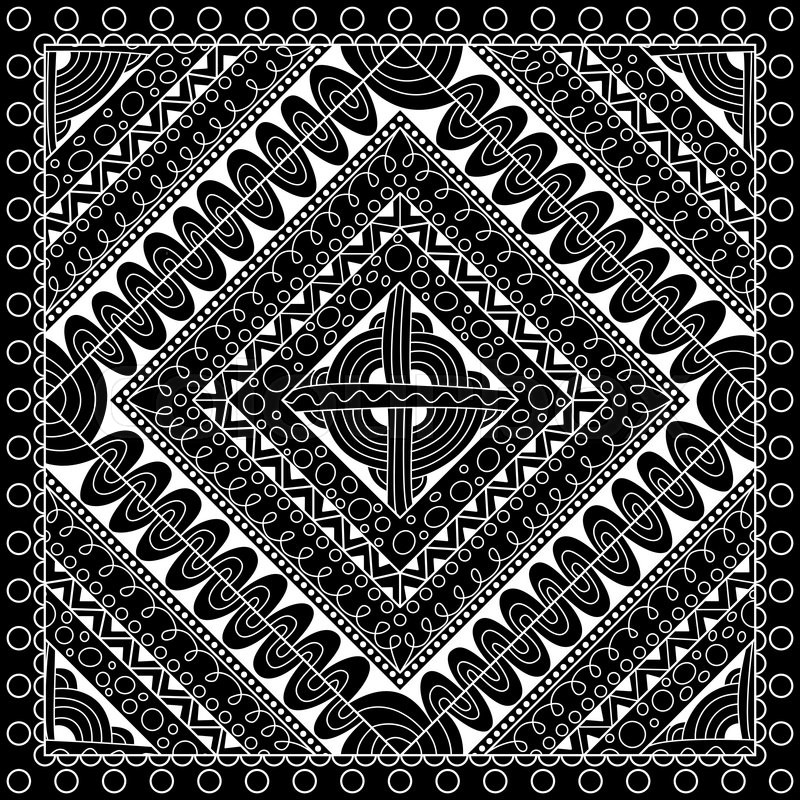 800x800 Black And White Abstract Bandana Print With Geometrical Ornament