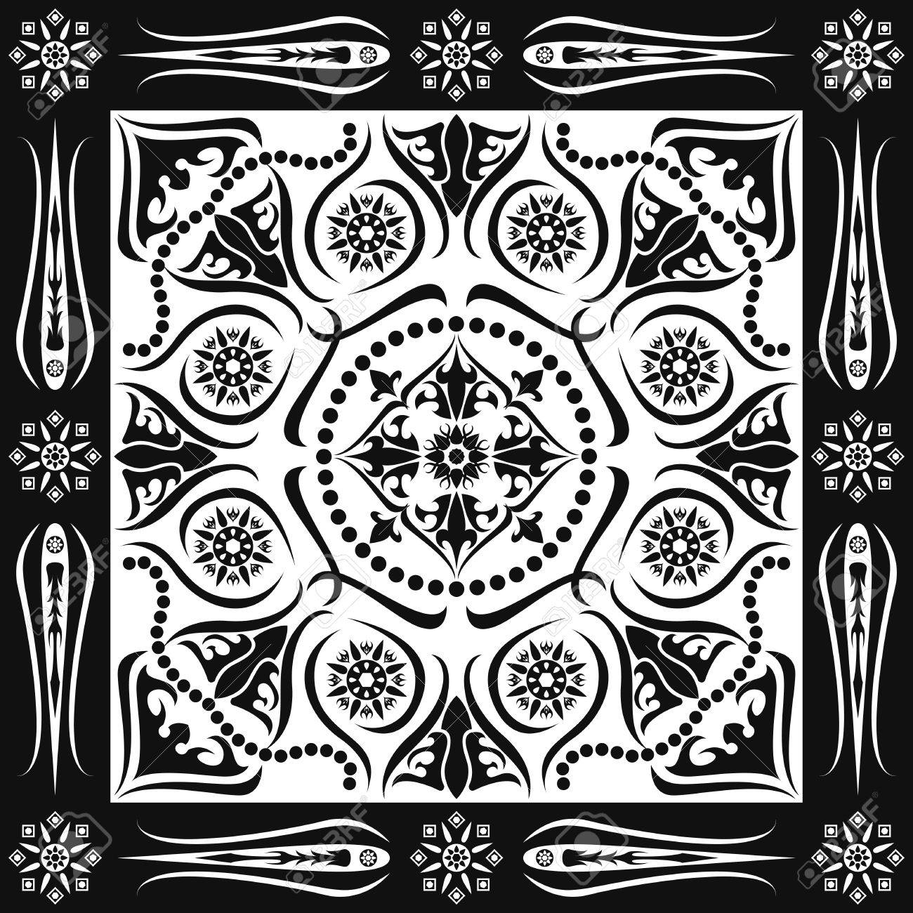1300x1300 Square Ornamental Classic Black And White Pattern. Can Use This