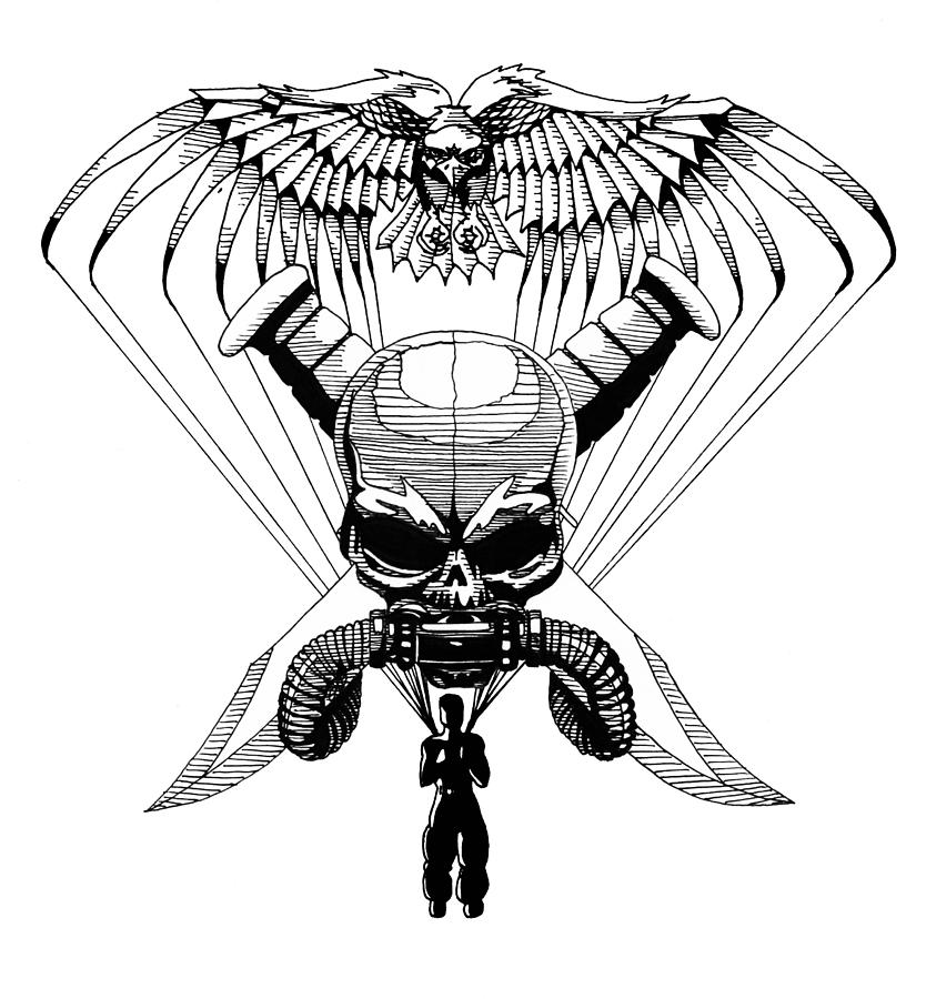 834x900 Us Marine Corp Recon Drawing By Scarlett Royal