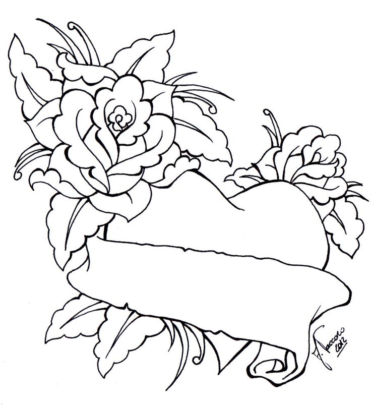 736x807 Collection Of Rose Heart Banner Tattoo Design