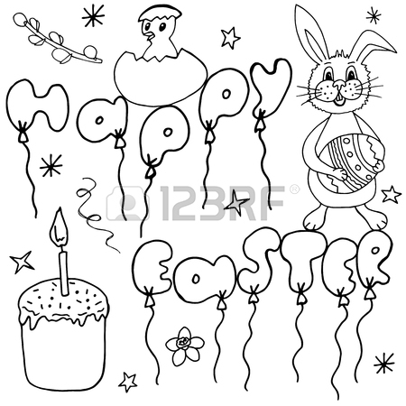 450x450 Happy Easter Hand Drawing Banner With Handwritten Letters. Ideal