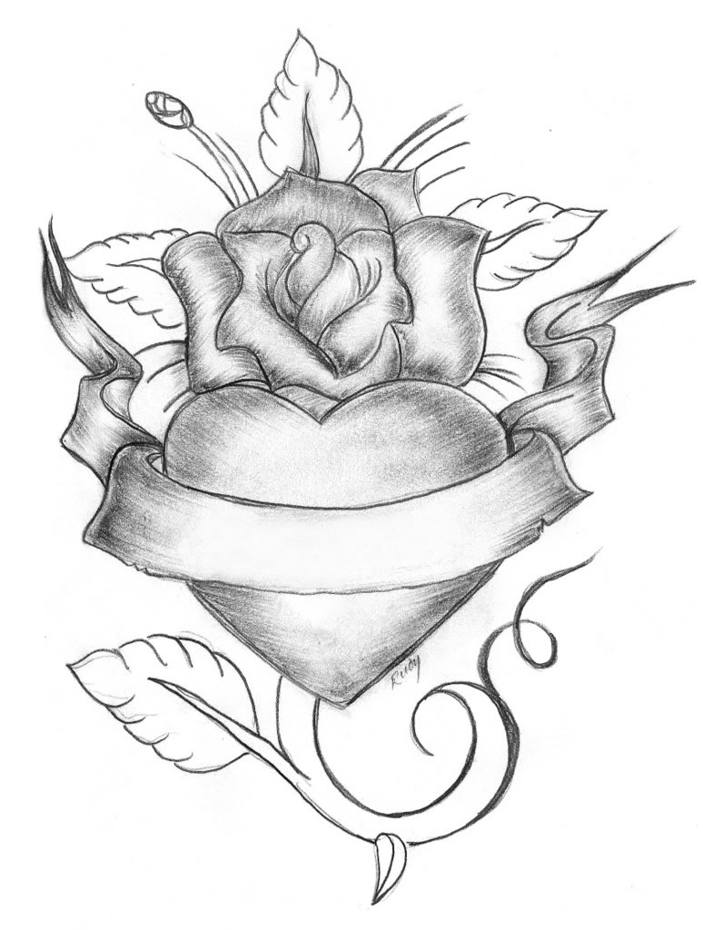 774x1024 Heart With Banner And Rose Drawings Rose And Banner Line Art