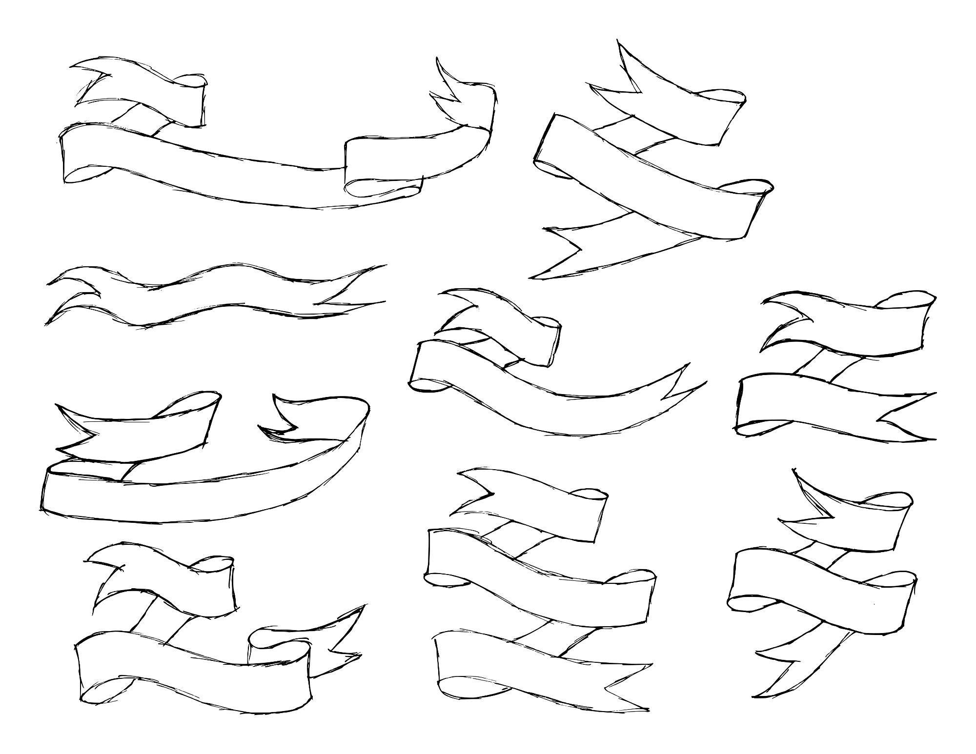 2000x1546 9 Hand Drawn Banner Ribbon (Png Transparent)