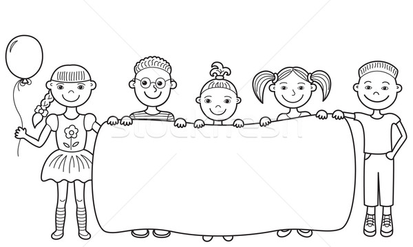 600x359 Cartoon Children Holding Empty Banner Vector Illustration Alla