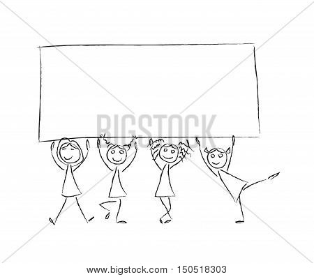450x397 Children Hold Banner Empty Frame. Vector Amp Photo Bigstock