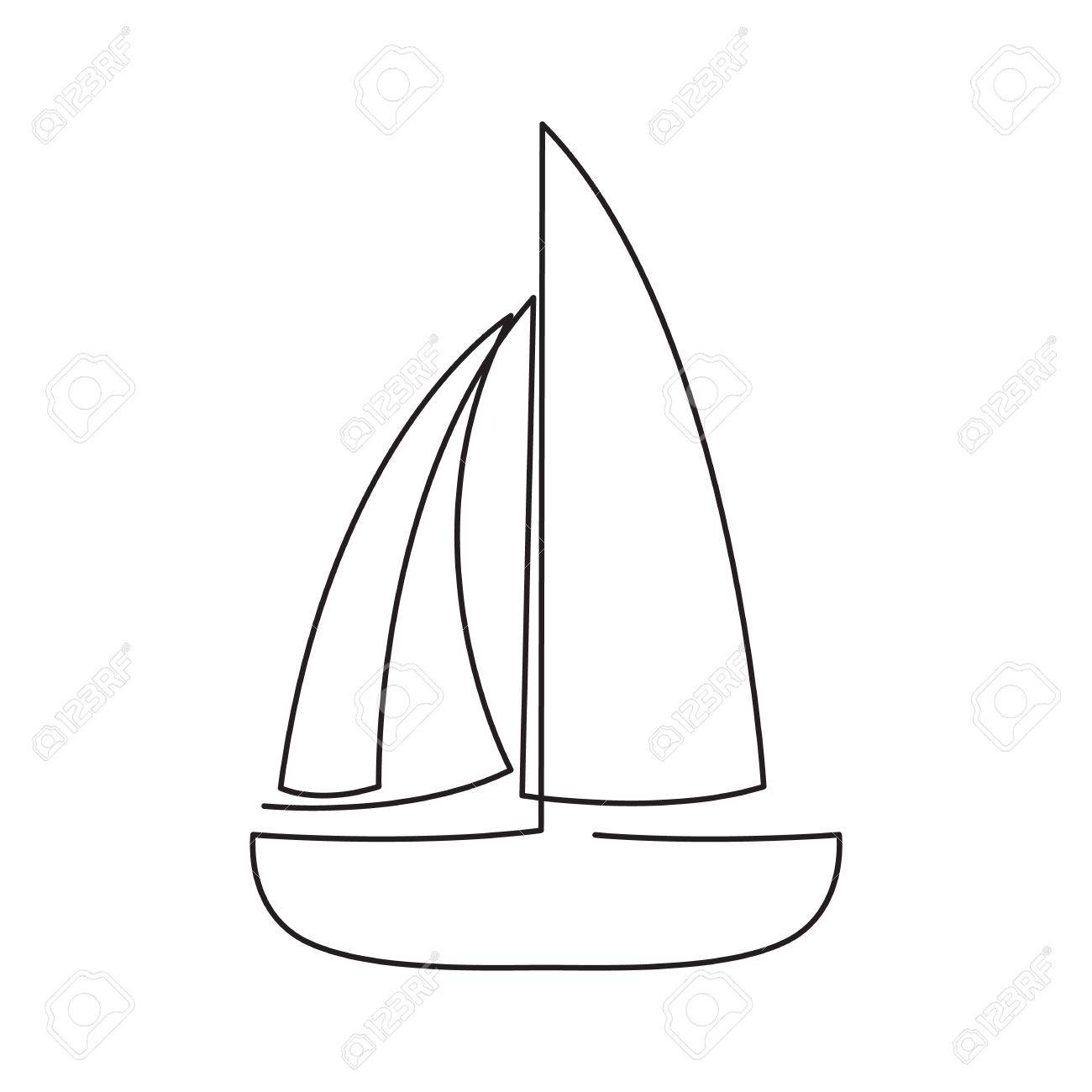 1300x1300 Continuous Line Sailing Boat. Abstract Modern Decoration. Vector