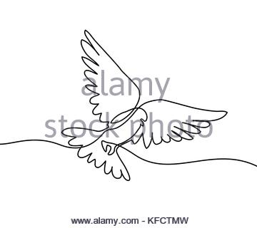 360x320 Continuous One Line Drawing. Flying Pigeon Logo. White On Blue