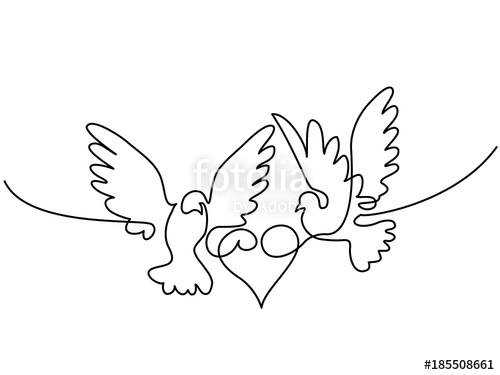 500x375 Continuous One Line Drawing. Flying Two Pigeons With Heart